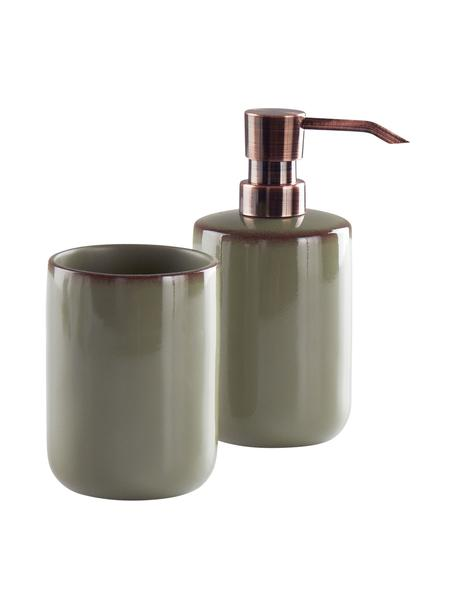 Set de baño Sloane, 2 pzas., Poliresina, Verde, bronce, Set de diferentes tamaños