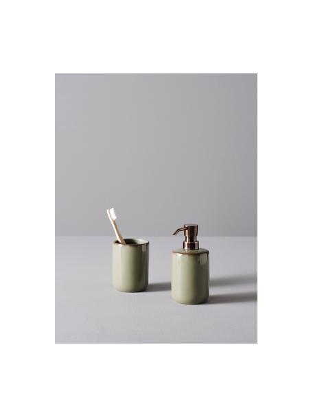 Bad-Accessoires-Set Sloane, 2-tlg., Polyresin, Grün, Bronzefarben, Set mit verschiedenen Größen