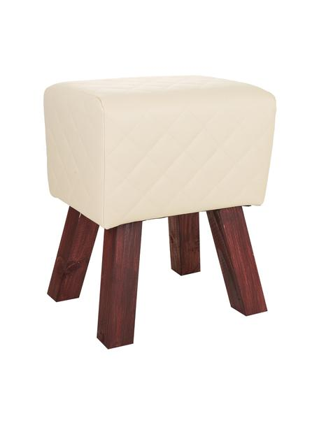 Taburete tapizado Bruni, Patas: madera, Asiento: cuero sintético, Beige, An 36 x Al 47 cm