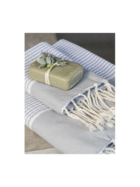 Lichte handdoekenset Copenhague met Lurex rand, 3-delig, Katoen, zeer lichte kwaliteit, 200 g/m² Lurex-draden, Parelgrijs, zilverkleurig, wit, Set met verschillende formaten