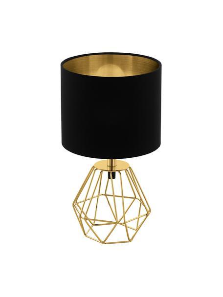 Kleine Nachttischlampe Phil in Schwarz-Gold, Lampenfuß: Metall, vermessingt, Schwarz, Gold, Ø 17 x H 31 cm