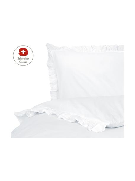 Gewaschener Baumwoll-Bettdeckenbezug Florence mit Rüschen, Webart: Perkal Fadendichte 180 TC, Weiss, 160 x 210 cm