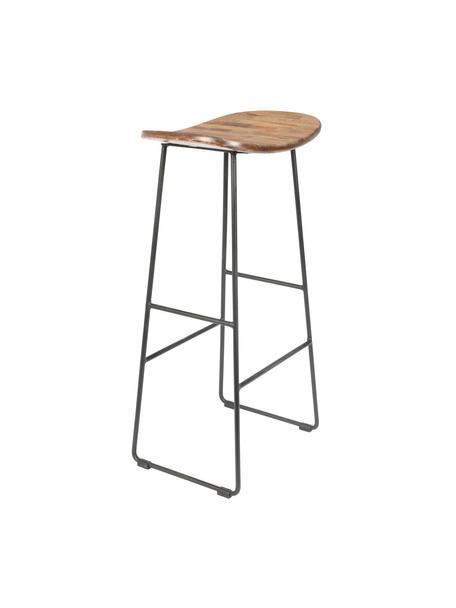 Stołek barowy z drewna tekowego i metalu Tangle, Nogi: metal malowany proszkowo, Drewno tekowe, czarny, S 40 x W 80 cm