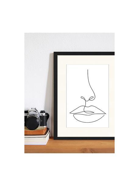 Oprawiony druk cyfrowy She, Czarny, biały, S 33 x W 43 cm