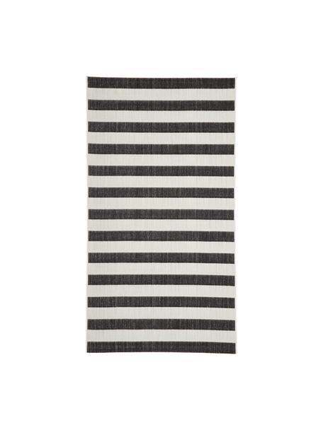Gestreifter In- & Outdoor-Teppich Axa in Schwarz/Weiß, 86% Polypropylen, 14% Polyester, Cremeweiß, Schwarz, B 80 x L 150 cm (Größe XS)