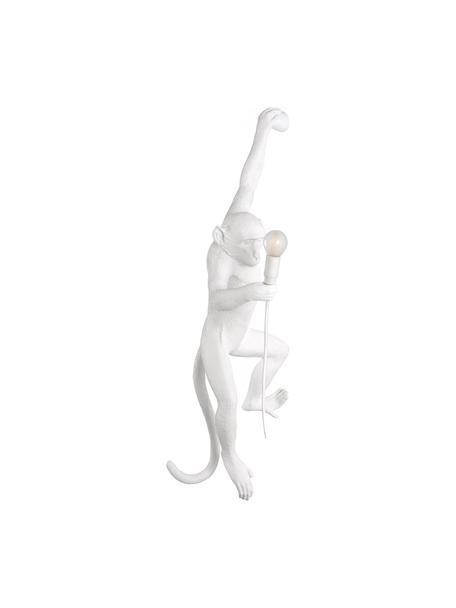 Aplique de exterior de diseño Monkey, con enchufe, Lámpara: resina, Cable: plástico, Blanco, An 37 x Al 77 cm