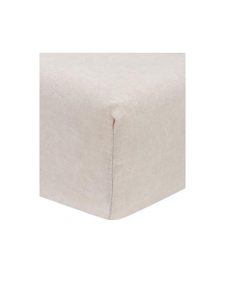 Leinen-Spannbettlaken Nature in Beige, Halbleinen (52% Leinen, 48% Baumwolle)  Fadendichte 108 TC, Standard Qualität  Halbleinen hat von Natur aus einen kernigen Griff und einen natürlichen Knitterlook, der durch den Stonewash-Effekt verstärkt wird. Es absorbiert bis zu 35% Luftfeuchtigkeit, trocknet sehr schnell und wirkt in Sommernächten angenehm kühlend. Die hohe Reißfestigkeit macht Halbleinen scheuerfest und strapazierfähig, Beige, 90 x 200 cm