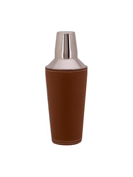 Cocktail shaker Lahore in zilverkleur met bruin leer, Shaker: edelstaal, Bekleding: leer, Bruin, staal, Ø 9 cm