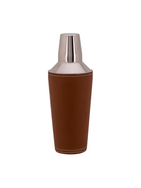 Shaker cocktail argentato con pelle marrone Lahore, Shaker: acciaio inossidabile, Rivestimento: pelle, Marrone, acciaio, Ø 9 x Alt. 25 cm