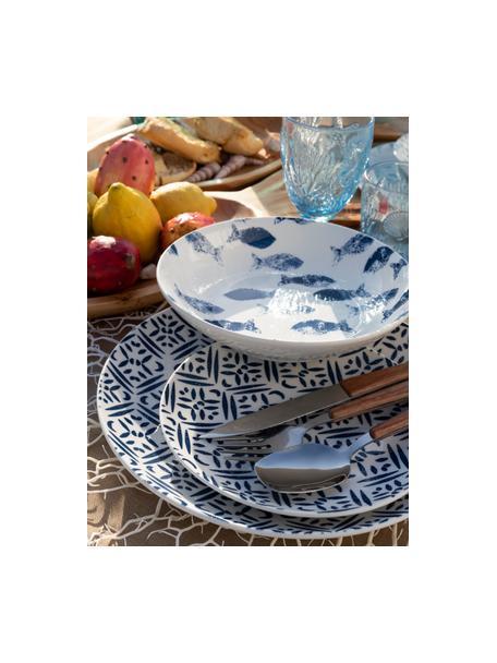 Gemustertes Geschirr-Set Playa in Blau/Weiss, 6 Personen (18-tlg.), Porzellan, Blau, Weiss, Set mit verschiedenen Grössen