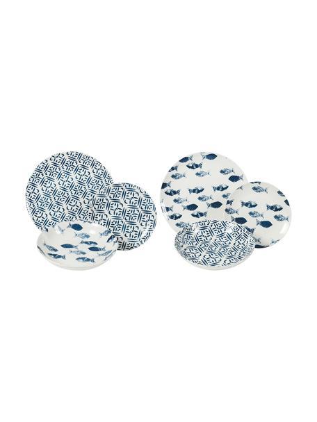 Serviesset met patroon Playa in blauw/wit, 6 personen (18-delig), Porselein, Blauw, wit, Set met verschillende formaten