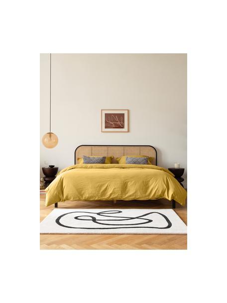 Houten bed Jones met Weens vlechtwerk, Frame: multiplex met essenhoutfi, Poten: massief essenhout, Zwart, 160 x 200 cm
