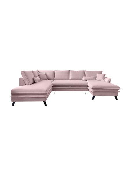 Sofa narożna z funkcją spania i schowkiem Charming Charlie, Tapicerka: 100% poliester, w dotyku , Stelaż: drewno naturalne, płyta w, Brudny różowy, S 302 x G 200 cm