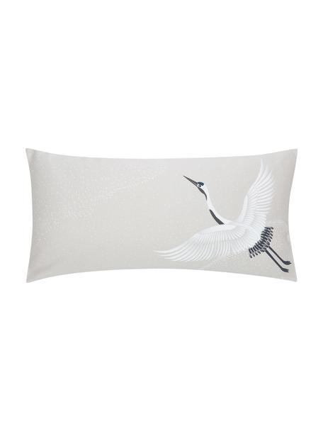 Baumwollsatin-Kopfkissenbezüge Yuma mit Kranichmotiv, 2 Stück, Webart: Satin Fadendichte 210 TC,, Beige, Weiß, Grau, 40 x 80 cm