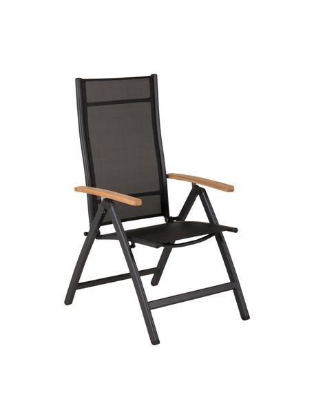 Silla de exterior plegable Panamá, Estructura: aluminio pintado, Reposabrazos: madera de teca, Negro, An 58 x F 75 cm