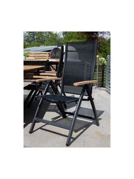 Sedia pieghevole da giardino Panama, Struttura: alluminio laccato, Nero, Larg. 58 x Prof. 75 cm