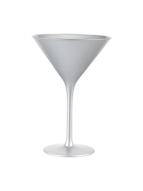 Copas martini de cristal Elements, 6uds., Cristal recubierto, Plateado, Ø 12 x Al 17 cm