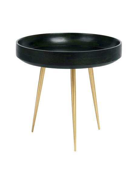 Tavolino di design in legno di mango Bowl Table, Piano d'appoggio: legno di mango rivestito , Gambe: metallo ottone placcato, Verde nori, colori ottone, Ø 40 x Alt. 38 cm