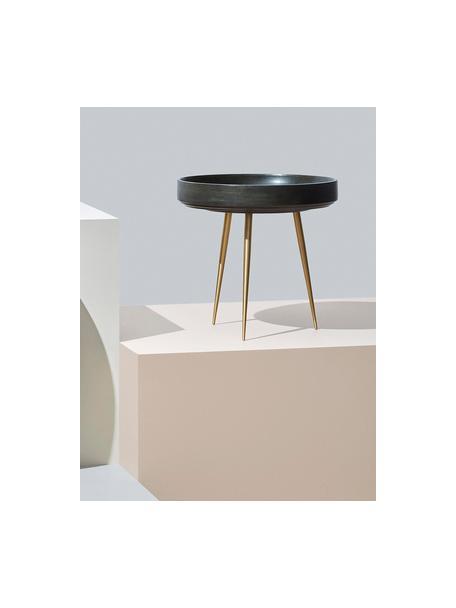 Stolik pomocniczy z drewna mangowego Bowl Table, Blat: drewno mangowe, pokryte b, Nogi: metal mosiądzowany, Zielony nori, odcienie mosiądzu, Ø 40 x W 38 cm