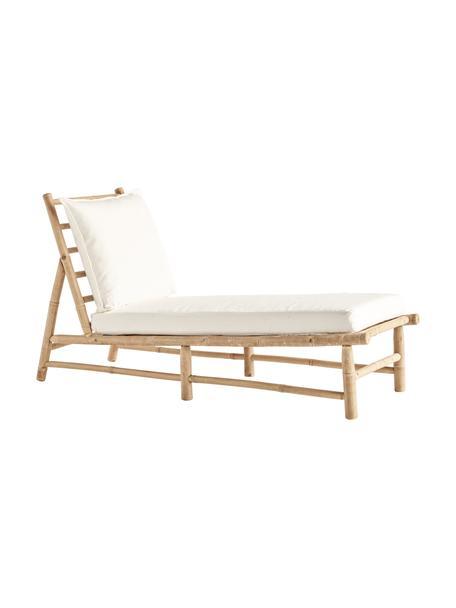Leżak ogrodowy z drewna bambusowego Bamslow, Stelaż: drewno bambusowe, Tapicerka: 100% bawełna, Biały, brązowy, S 150 x G 55 cm