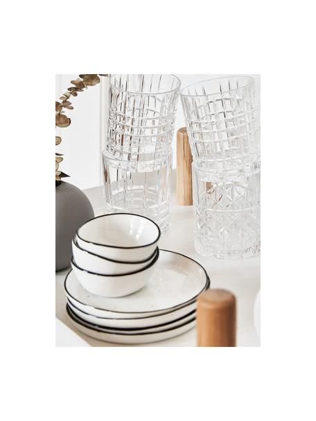 Platos postre artesanales Salt, 4uds., Porcelana, Blanco crudo, negro, Ø 18 cm