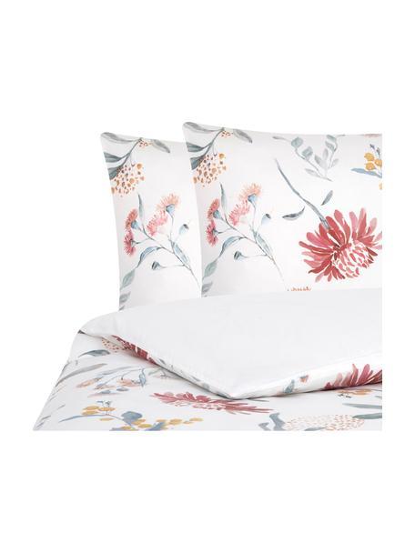 Parure copripiumino reversibile in raso di cotone Evie, Tessuto: raso Densità del filo 210, Stampa floreale, bianco, 255 x 200 cm