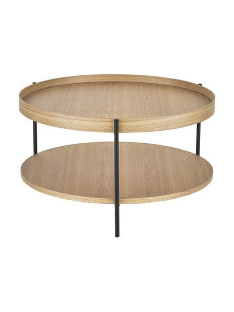 Tavolino da salotto in legno con finitura di frassino Renee, Ripiani: pannello di fibra a media, Struttura: metallo verniciato a polv, Legno di frassino, Ø 69 x Alt. 39 cm