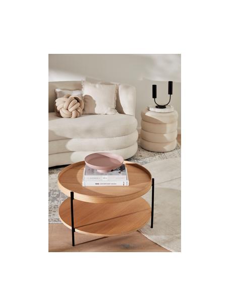 Stolik kawowy z drewna Renee, Blat: płyta pilśniowa średniej , Stelaż: metal malowany proszkowo, Drewno jesionowe, Ø 69 x W 39 cm