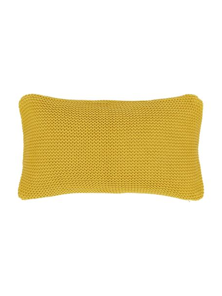 Federa arredo fatta a maglia color giallo senape Adalyn, 100% cotone, Giallo, Larg. 30 x Lung. 50 cm