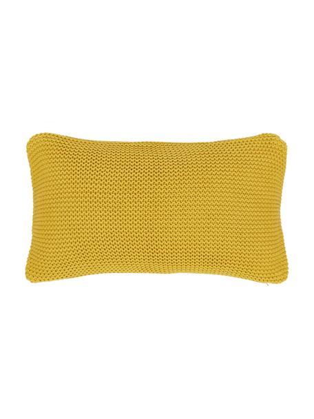 Strick-Kissenhülle Adalyn in Senfgelb, 100% Baumwolle, Gelb, 30 x 50 cm