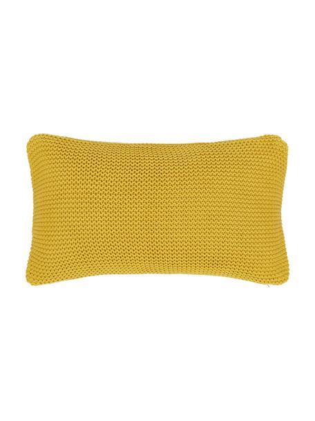 Federa arredo fatta a maglia color giallo senape Adalyn, 100% cotone biologico, certificato GOTS, Giallo, Larg. 30 x Lung. 50 cm