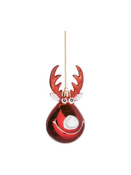 Adornos navideños irrompibles Rudolph, 2uds., Adornos: plástico, Rojo, blanco, dorado, Ø 5 x Al 12 cm