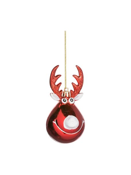 Bruchfeste Baumanhänger Ruff H 12 cm, 2 Stück, Weihnachtsrot, Weiss, goldfarben, Ø 5 x H 12 cm