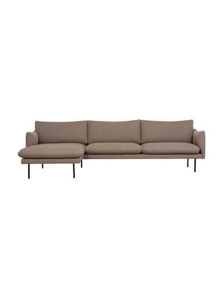 Sofa narożna z metalowymi nogami Moby, Tapicerka: poliester Dzięki tkaninie, Nogi: metal malowany proszkowo, Taupe, S 280 x G 160 cm