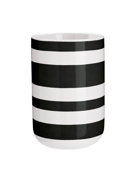 Kubek na szczoteczki z ceramiki Lina, Ceramika, Czarny, Ø 7 x W 11 cm
