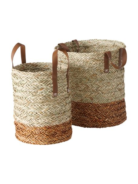 Handgeweven opbergmandenset Mahika van stro, 2-delig, Mand: stro, gevlochten, Handvatten: kunstleer, Beige, Set met verschillende formaten