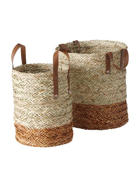 Set de cestas artesanales de mimbre Mahika, 2uds., Asas: cuero sintético, Beige, Set de diferentes tamaños