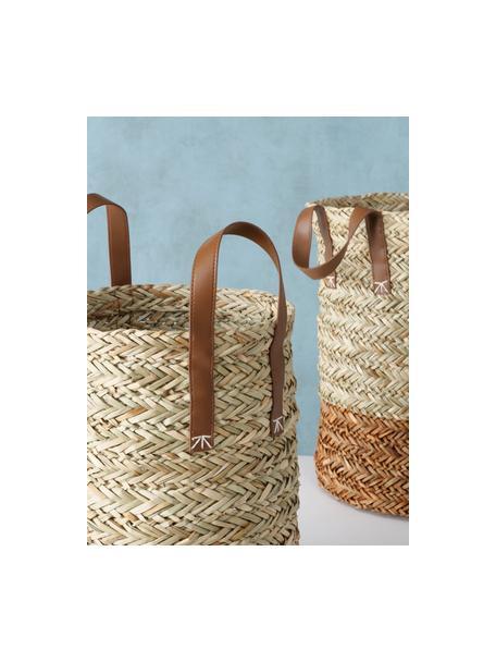 Handgewebtes Aufbewahrungskörbe-Set Mahika aus Stroh, 2-tlg., Griffe: Kunstleder, Beige, Set mit verschiedenen Größen