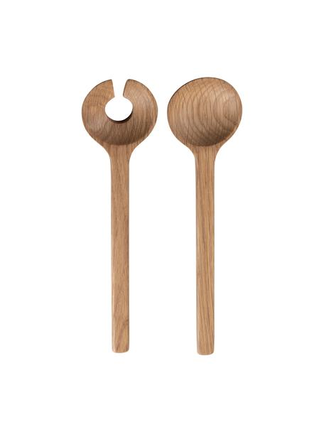 Krótkie sztućce sałatkowe z drewna dębowego Bit, 2 elem., Drewno dębowe, Drewno dębowe, D 24 cm