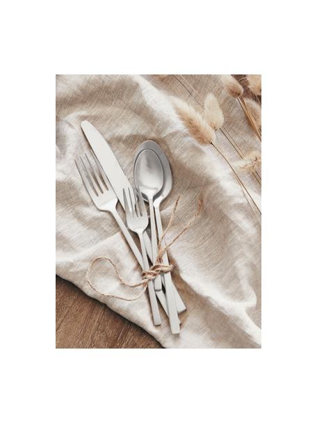Matt gebürstetes Besteck-Set Shine aus Edelstahl, in verschiedenen Setgrößen, Messer: Edelstahl 13/0, Edelstahl, gebürstet, 1 Person (5-tlg.)