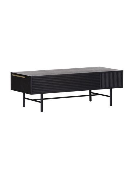 Tavolino da salotto in legno di acacia con frontale scanalato Mamba, Gambe: metallo verniciato, Nero, Larg. 124 x Alt. 40 cm