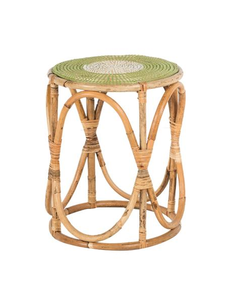 Stolik pomocniczy z rattanu Dennise, Blat: trawa morska, Stelaż: rattan, Beżowy, zielony, biały, Ø 41 x W 50 cm