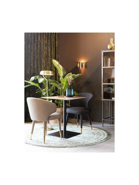 Fluwelen stoel Lunar, Bekleding: 100% polyester fluweel, Frame: multiplex, Poten: rubberhout, Poten: gepoedercoat staal, Zwart, messingkleurig, 52 x 59 cm