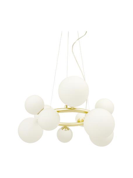 Lámpara de techo redonda grande de vidrio opalino Molekyl, Estructura: metal recubierto, Anclaje: metal recubierto, Cable: plástico, Dorado, blanco, Ø 50 x Al 27 cm
