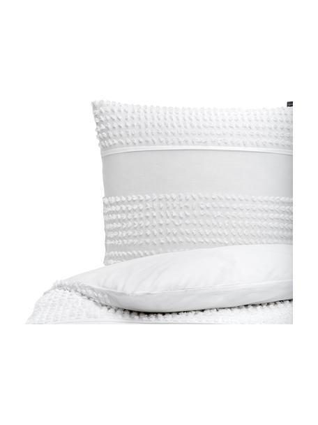 Baumwoll-Bettwäsche Endure mit getufteter Verzierung, 100% Baumwolle  Fadendichte 144 TC, Standard Qualität  Bettwäsche aus Baumwolle fühlt sich auf der Haut angenehm weich an, nimmt Feuchtigkeit gut auf und eignet sich für Allergiker, Weiß, 135 x 200 cm + 1 Kissen 80 x 80 cm