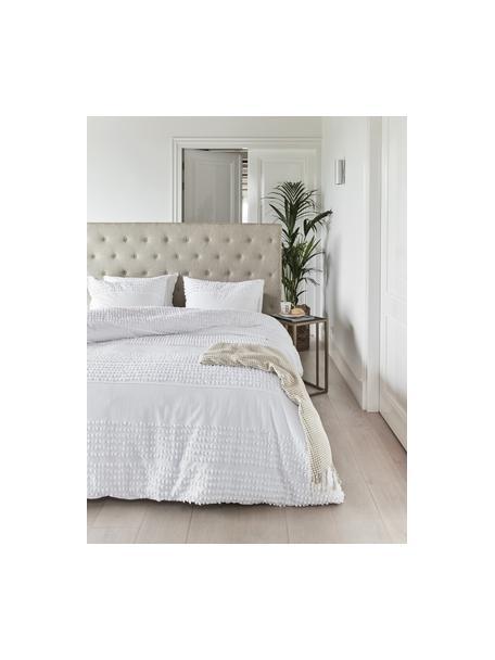 Pościel z bawełny z tuftowaną dekoracją Endure, Biały, 135 x 200 cm + 1 poduszka 80 x 80 cm