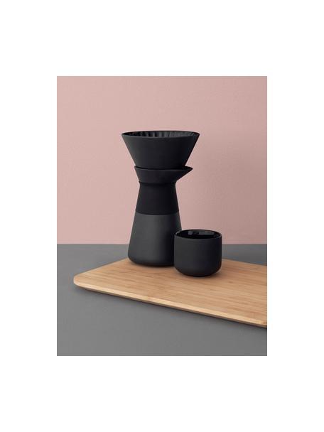 Caffettiera color nero opaco Theo, Coperchio: legno di bambù, Manico: termoisolante silicone, Nero, 600 ml