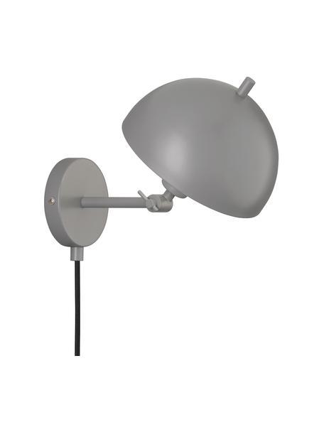 Applique retro Kia, Paralume: metallo rivestito, Grigio, Larg. 20 x Alt. 25 cm