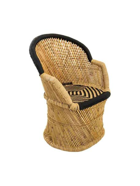 Zewnętrzny fotel wypoczynkowy z drewna bambusowego Ariadna, Drewno bambusowe, lina, Brązowy, czarny, S 46 x G 63 cm