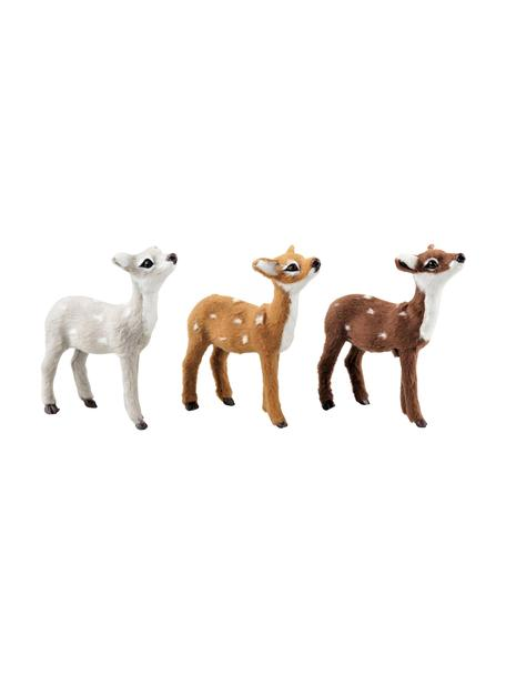Set 3 cervi decorativi Bambi, alt. 10 cm, Poliresina, Bianco, tonalità marroni, Larg. 8 x Alt. 10 cm